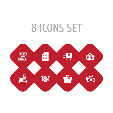 Set Of 8 Shopping Icons Set.Collection Of Bag, Advertising, Best Offer And Other Elements.
