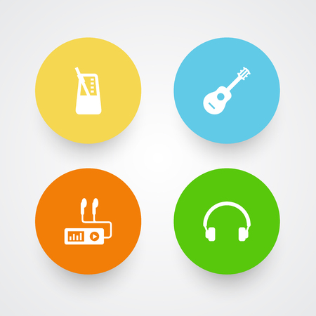 Set Of 4 Music Icons Set.Collection Of Earphones, Acoustic, Audio Device And Other Elements.
