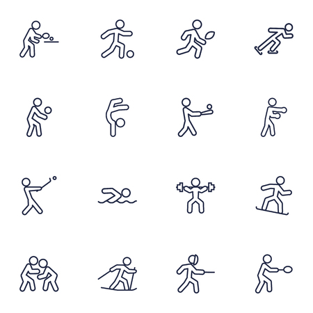 Set Of 16 Sport Outline Icons Set.Collection Of Gymnastic, Ice Skating, Player And Other Elements.