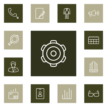 Set Of 13 Business Outline Icons Set.Collection Of Paper, Business Center, Chart And Other Elements.