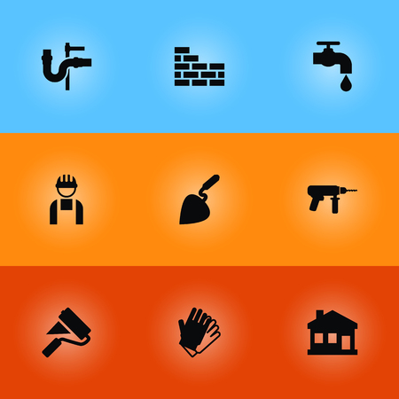 Set Of 9 Architecture Icons Set.Collection Of Electric Screwdriver, Worker, Faucet And Other Elements.  イラスト・ベクター素材