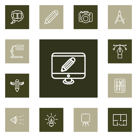Set Of 13 Constructive Outline Icons Set.Collection Of Easel, Idea, Knowledge And Other Elements. Çizim