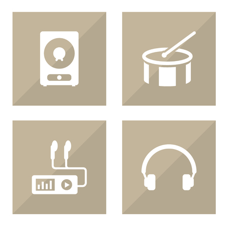 Set Of 4 Song Icons Set.Collection Of Earphones, Audio Device, Amplifier And Other Elements.