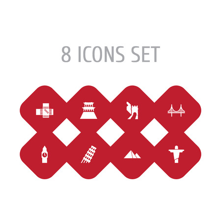 Set Of 8 Famous Icons Set.Collection Of Pisa, Great Pyramid, Japan And Other Elements. Illustration