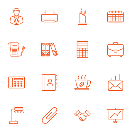Set Of 16 Bureau Outline Icons Set.Collection Of Telephone Directory, Document Case, Date And Other Elements.