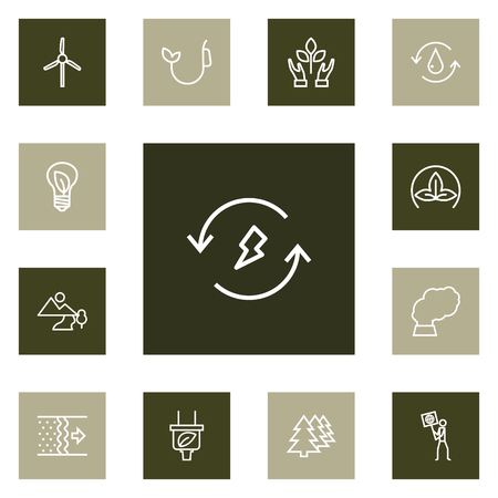 Set Of Ecology Outline Icons Set.Collection Of Renewable Energy, Afforestation, Nature And Other Elements. Illustration