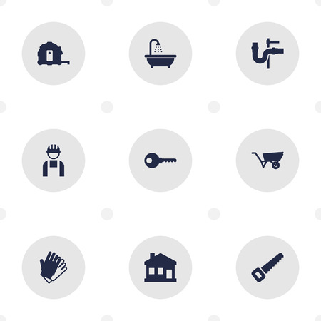 Collection Of Pipeline, Gauntlet, Bathroom And Other Elements. Set Of Construction Icons Set.