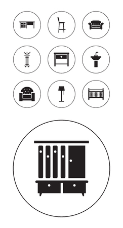 Collection Of Bedside Table, Sink, Illuminator And Other Elements.  Set Of 10 Situation Icons Set.