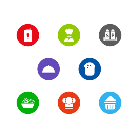 Collection Of Condiments, Tray, Alcohol And Other Elements.  Set Of 8 Restaurant Icons Set.  Illustration