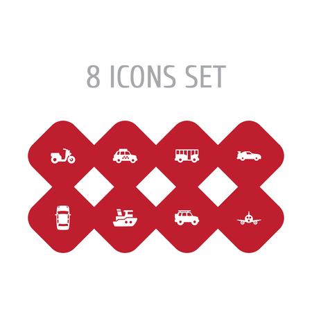 Set Of 8 Transport Icons Set. Illustration