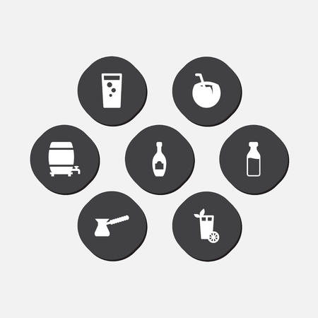 Collection Of Lemonade, Cocktail, Turkish Coffee And Other Elements.  Set Of 7 Beverages Icons Set.