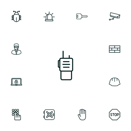 Collection Of Supervision, Keypad, No Entry And Other Elements.  Set Of 13 Safety Outline Icons Set.