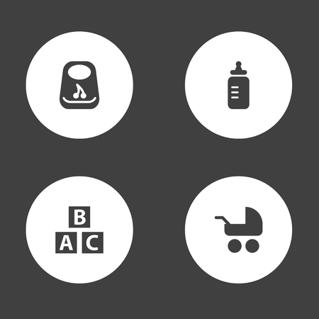 Collection Of Milk, Pram, Abc Block And Other Elements.  Set Of 4 Child Icons Set.  Ilustração