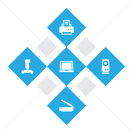 Set Of 5 Laptop Icons Set.Collection Of Photocopy, Joystick, Amplifier And Other Elements.