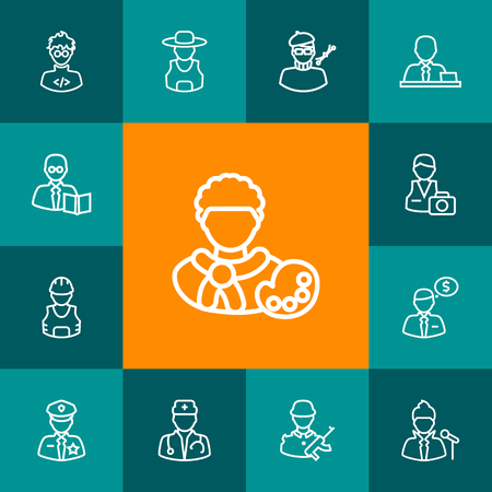 Set Of 13 Job Outline Icons. Illustration