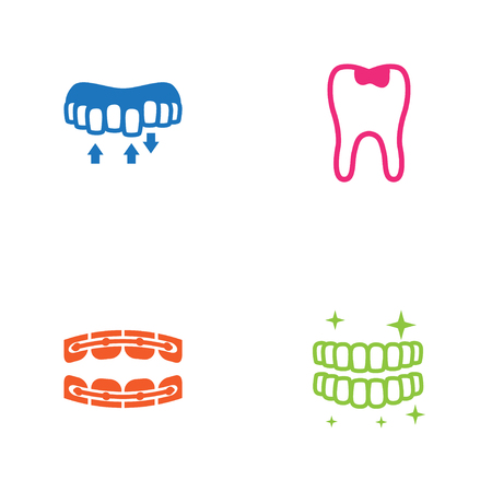 Set Of 4 Teeth Icons Set.Collection Of Caries, Stabilize, Hygiene And Other Elements. Ilustrace