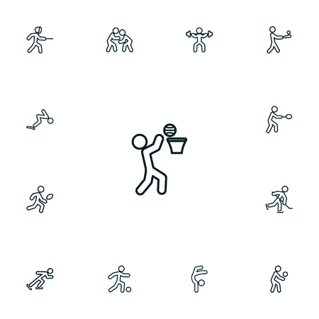 Collection Of Swordplay, Basket, Fight And Other Elements.  Set Of 13 Sport Outline Icons Set.