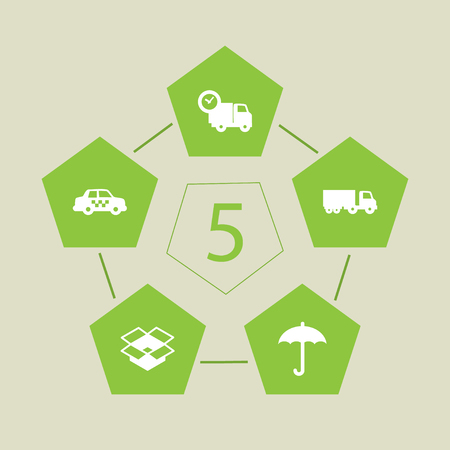 Set Of 5 Cargo Icons Set.Collection Of Van, Cab, Umbrella And Other Elements. Illustration