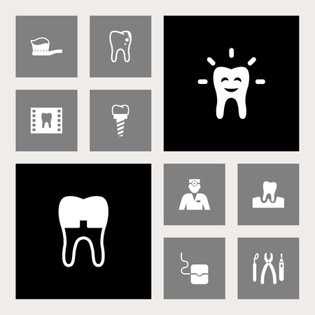 Set Of 10 Dental Icons Set.Collection Of Halitosis, Toothpaste, Dental Crown And Other Elements.