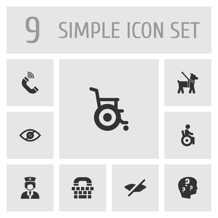 Collection Of Assistance, Tty, Stroller And Other Elements.  Set Of 9 Accessibility Icons Set.  Illusztráció