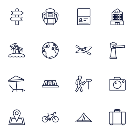 Collection Of Globe, Lighthouse, Pin And Other Elements.  Set Of 16 Travel Outline Icons Set.  Vectores
