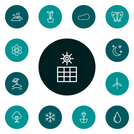 Set Of 13 Bio Outline Icons Set.Collection Of Cloud, Moon With Star, Snowflake And Other Elements.
