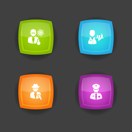 Collection Of Officer, Scholarly, Servant And Other Elements.  Set Of 4 Professions Icons Set.