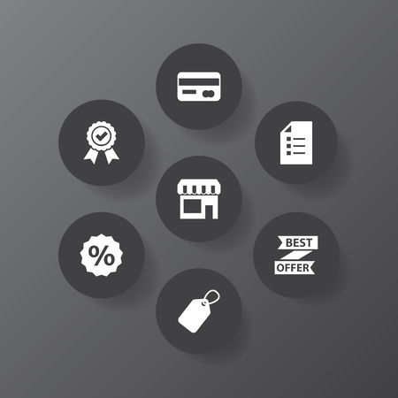 Set Of 7 Store Icons Set.Collection Of Payment, Percent, Reminder And Other Elements. Illustration