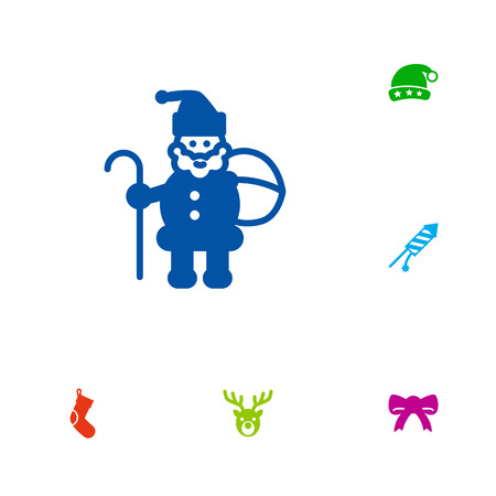 Set Of 6 New Icons Set.Collection Of Cap, Claus, Socks And Other Elements.