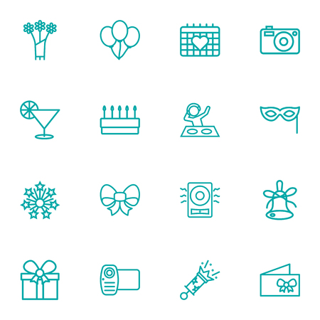 Collection Of Amplifier, Event, Pastry And Other Elements.  Set Of 16 Cocktail Outline Icons Set.