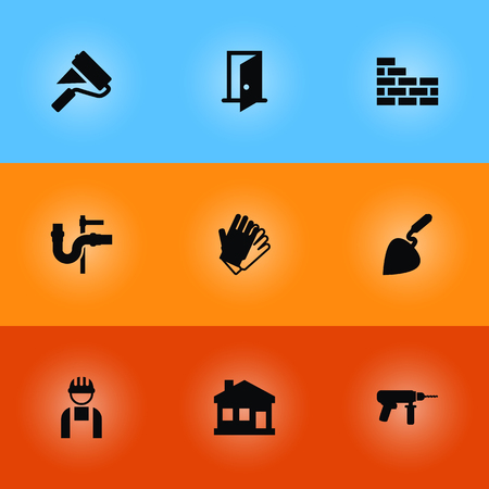 Set Of Architecture Icons Set. Collection Of Paint Roller, Bricklayer, Worker And Other Elements. Illustration