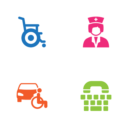Set Of 4 Accessibility Icons Set. Collection Of Disabled Vehicle, Assistance. Illustration