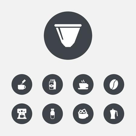 Zestaw 9 ikon kawy. Ilustracje wektorowe