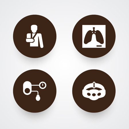 Set Of Medical Icons Set.Collection Of Slimming, Lung, Injury And Other Elements.
