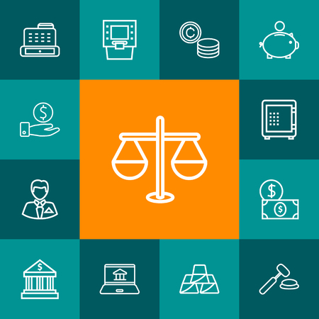 Set Of 13 Budget Outline Icons Set.Collection Of Money Box, Justice, Businessman And Other Elements. Иллюстрация