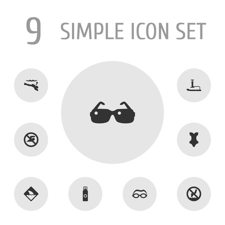 Set Of Seaside Icons Set. Collection Of Eyeglasses, No Swimming Sign, Warning And Other Elements. Illustration