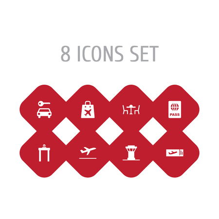 Set Of 8 Airplane Icons Set.Collection Of Shopping Bag, Ticket, Restaurant And Other Elements.