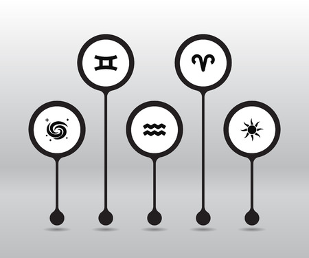 Set Of 5 Astrology Icons.