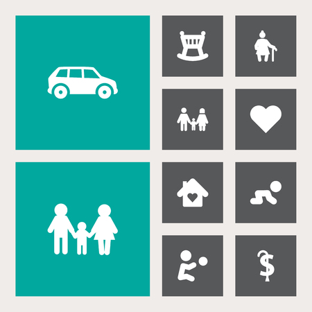 Set Of 10 Family Icons Set.Collection Of Playing, Pension, Creep Baby And Other Elements. Banco de Imagens