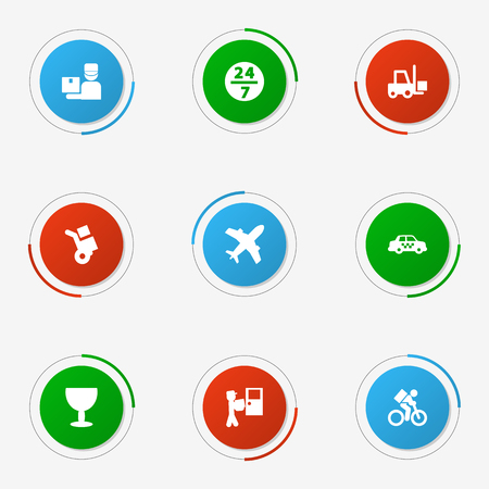 Set Of 9 Cargo Icons Set.Collection Of Shipping, Aircraft, Delivery And Other Elements.