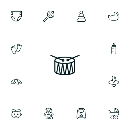 Set Of 13 Kid Outline Icons Set.