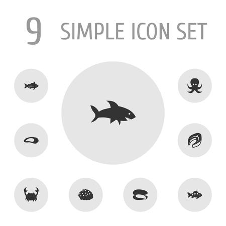 Set Of 9 Sea Icons vector illustration Illustration