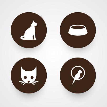 Set Of 4 Animals Icons Set.