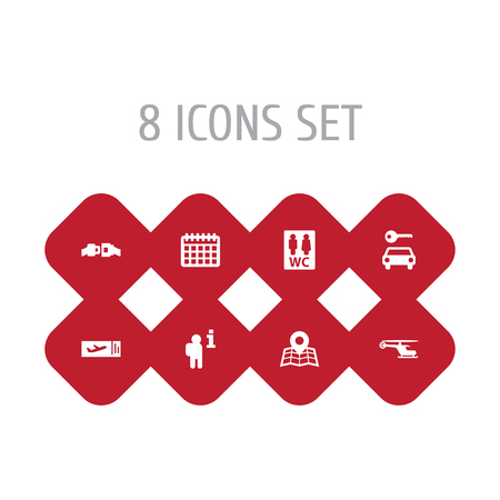 Set Of 8 Airplane Icons Set.Collection Of Location, Toilet, Buckle And Other Elements.