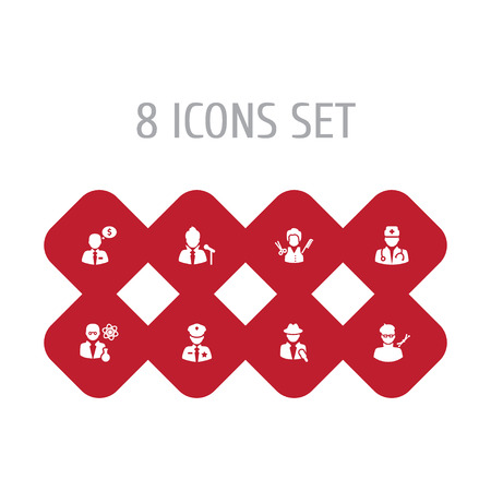 Set Of 8 Professions Icons Set.Collection Of Artist, Vocalist, Officer And Other Elements. Illustration