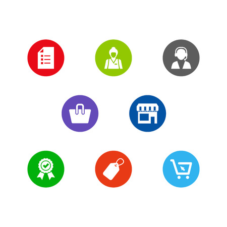 Set Of 8 Store Icons Set.Collection Of Label, Market, Reminder And Other Elements. Illustration
