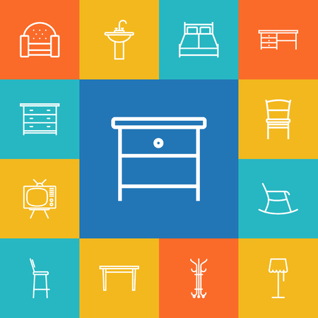 Set Of 13 Situation Outline Icons Set.Collection Of Moving Chair, Sofa, Nightstand Elements. Ilustração