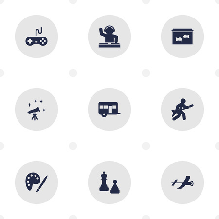 Set Of 9 Entertainment Icons Set.Collection Of Caravan, Flying, Fish And Other Elements.