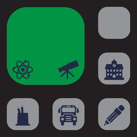 Set Of 6 School Icons Set.