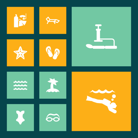 Set Of 10 Beach Icons Set.Collection Of Palm, Lounge, Swimwear And Other Elements.